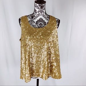 Vince Camuto Gold Fish Scales Sequined Tank Top